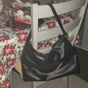 Karen Millen black leather shoulder bag